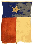 Texas Country Music Digital Art Prints - Old Texas Flag Color 16 Print by Scott Kelley