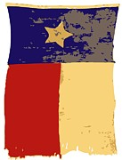 Texas Country Music Digital Art Prints - Old Texas Flag Color 6 Print by Scott Kelley