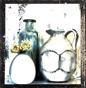 Pottery Pitcher Metal Prints - Old Things Beautiful Metal Print by Marsha Heiken