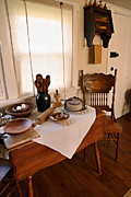 Wooden Bowls Prints - Old Time Kitchen Table Print by Carmen Del Valle