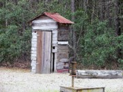 Al Powell Posters - Old time Outhouse and Pitcher Pump Poster by Al Powell Photography USA