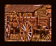 Log Cabins Digital Art Prints - Old Time Wagon Print by Tisha McGee