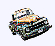 Samuel Sheats Prints - Old Timer 1952 Ford Pickup Truck Print by Samuel Sheats