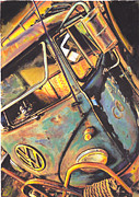 Iconic Car Drawings - Old Timer by Sharon Poulton