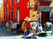 John Kolenbergold Timer Framed Prints - Old Timer With His Burros On Umaran Street Framed Print by John  Kolenberg