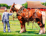 Red Barn Prints - Old Timers Print by Toni Grote