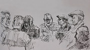Men Talking Drawings - Old-Timers  by Ylli Haruni
