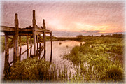 Sunset Greeting Cards Posters - Old Times Dock Poster by Debra and Dave Vanderlaan