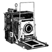 Camera Drawings Prints - Old Timey Vintage Camera Print by Karl Addison
