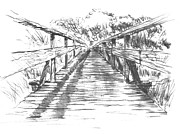 Bridge Drawings - Old Tims Bridge by Tom Maddalena