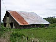 Rusty Pyrography Prints - Old Tin Roof Barn Washington State Print by Laurie Kidd