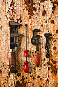 Mend Framed Prints - Old tools on rusty counter  Framed Print by Garry Gay