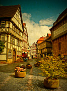 Haeuser Mixed Media Framed Prints - Old Town Fritzlar in Germany Framed Print by Bildaspekt De