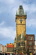 Old Town Square Prints - Old Town Hall Prague CZ Print by Christine Till