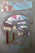 Old Town Pastels Prints - Old Town in Rhodes  Greece Print by Ylli Haruni