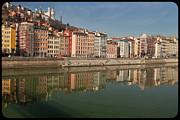 Riverbank Framed Prints - Old Town Of Lyon Framed Print by Niall Sargent