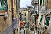 Crooked Prints - Old town of Sanremo Print by Joana Kruse