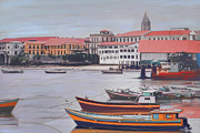 Red Roof Mixed Media Prints - Old Town  Panama City Print by James  Mingo