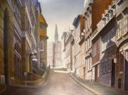 Dog Walking Posters - Old Town Quebec Poster by Paul Gilbert Baswell