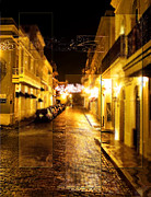 Rain Digital Art Originals - Old Town San Juan by Gordon Engebretson