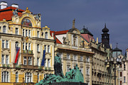 Old Town Square Prints - Old Town Square in Prague Print by Christine Till