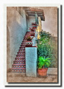 Spanish Pyrography Prints - Old Town Stairs Print by Frank Garciarubio