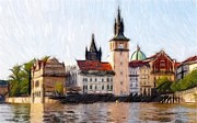 River Pastels Prints - Old Town Print by Stefan Kuhn