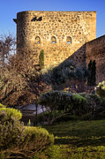 Garden Scene Metal Prints - Old Town Walls Toledo Spain Metal Print by Joan Carroll