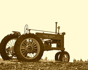 Farming Equipment Photos - Old Tractor III in Sepia by JD Grimes
