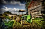 Old Tractor In Field By Barn Print by Dan Friend