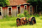 Old Barns Metal Prints - Old Tractor Metal Print by Iris Greenwell