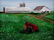 Old Tractors Paintings - Old Tractor on a Pennsylvania Farm by Spencer Hudon II