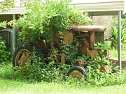 Gatlinburg Tn Prints - Old tractor overgrown with greenery on a farm in Alabama Print by Artie Wallace