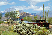 The Superstitions Photos - Old Train cactus desert and mountains by Tracey Hunnewell