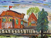Train Station Drawings - Old Train Station by Mary Carol Williams