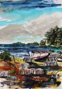 Maine Coast Drawings - Old Traps by John  Williams