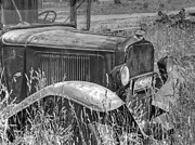 Chevy Pickup Prints - Old Truck in the Field Black and White Print by Ken Smith