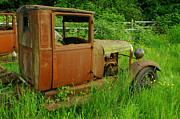 Rusted Cars Prints - Old Truck in the Field Print by Randy Harris