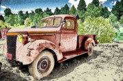 Wall Art Greeting Cards Digital Art Originals - Old Truck by James Steele