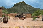 Movie Art Paintings - Old Tucson by Mary Rogers