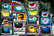 Old Tv Framed Prints - Old TVs Abstract Framed Print by Garry Gay