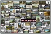 City Buildings Pyrography Posters - Old Vancouver Collage Poster by Janos Kovac