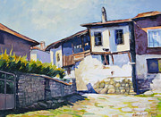 Cropped Painting Prints - Old vilage Print by Stoiko Donev