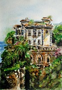 Watercolor Resort Posters - Old villa in Italy Poster by Zaira Dzhaubaeva