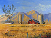 Winter Sunset Paintings - Old Vineyard Dairy Farm by Jeff Brimley