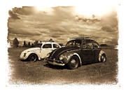 Lowered Prints - Old VW Beetles Print by Steve McKinzie