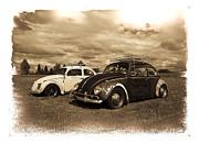 Old Vw Beetles Print by Steve McKinzie