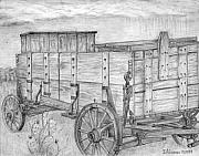 Wagon Drawings Framed Prints - Old Wagon Framed Print by Jesse Alonzo
