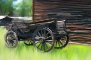 Cabin Mixed Media Acrylic Prints - Old Wagon  Acrylic Print by Jim  Hatch