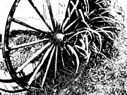 Wagonwheel Prints - Old Wagon Wheel 5 Print by Dave Dresser